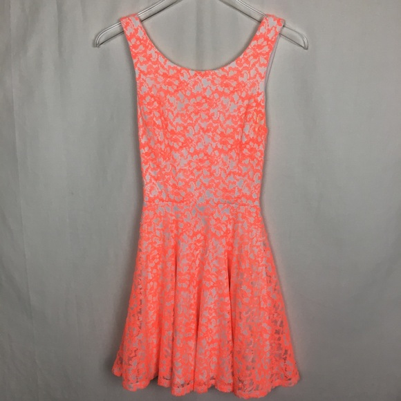 Guess Orange and White Skater Dress
